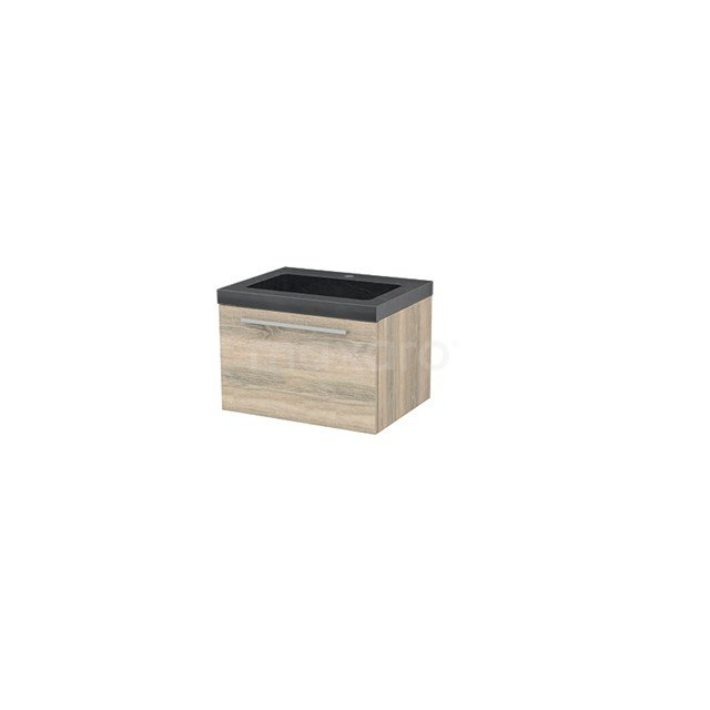 Badkamermeubel 60cm Modulo+ Eiken 1 Lade Vlak Wastafel Natuursteen Graniet BMP001115