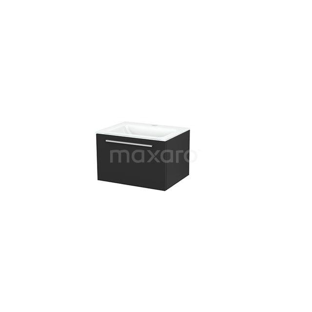 Badkamermeubel 60cm Modulo+ Carbon 1 Lade Vlak Wastafel Glas BMP001127