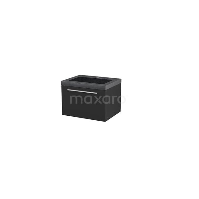 Badkamermeubel 60cm Modulo+ Carbon 1 Lade Vlak Wastafel Natuursteen Graniet BMP001133