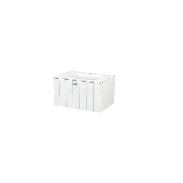 Badkamermeubel 70cm Modulo+ Hoogglans Wit 1 Lade Lamel Wastafel Glas BMP001206