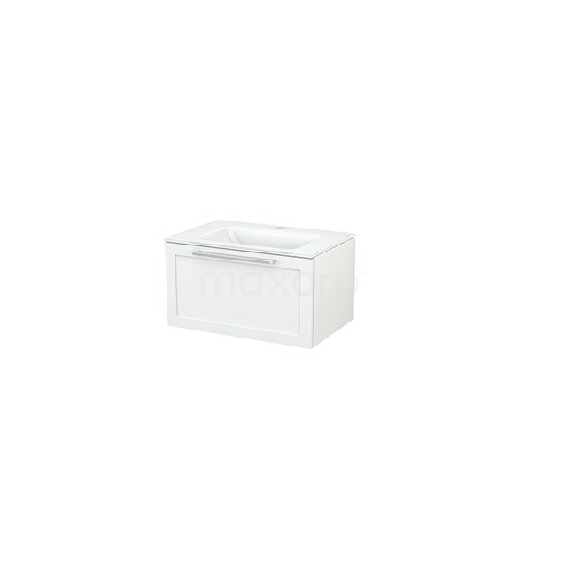Badkamermeubel 70cm Modulo+ Hoogglans Wit 1 Lade Kader Wastafel Glas BMP001214