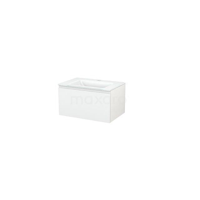 Badkamermeubel 70cm Modulo+ Hoogglans Wit 1 Lade Greeploos Wastafel Glas BMP001222