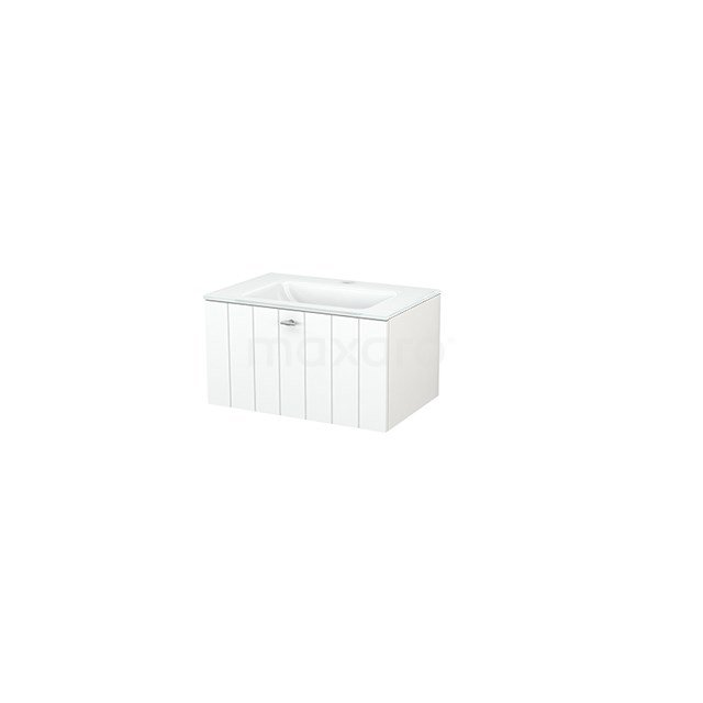 Badkamermeubel 70cm Modulo+ Mat Wit 1 Lade Lamel Wastafel Glas BMP001238