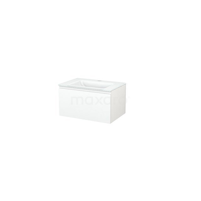 Badkamermeubel 70cm Modulo+ Mat Wit 1 Lade Greeploos Wastafel Glas BMP001254