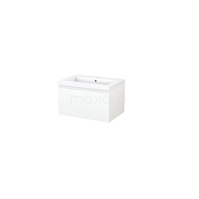 Badkamermeubel 70cm Modulo+ Mat Wit 1 Lade Greeploos Wastafel Mineraalmarmer BMP001256