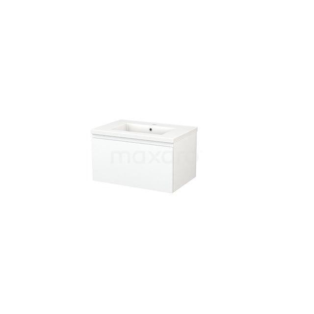 Badkamermeubel 70cm Modulo+ Mat Wit 1 Lade Greeploos Wastafel Keramiek BMP001261