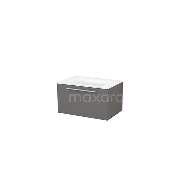 Badkamermeubel 70cm Modulo+ Basalt 1 Lade Vlak Wastafel Glas BMP001262