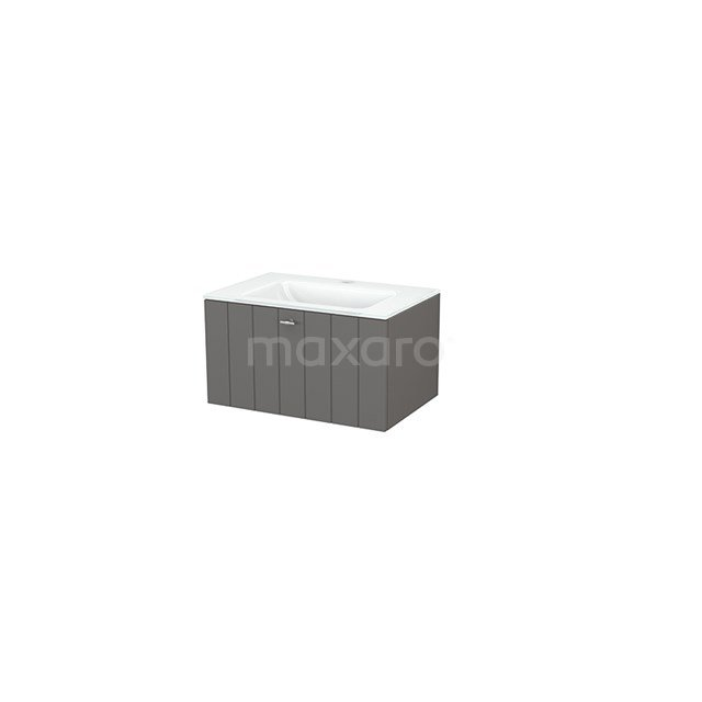 Badkamermeubel 70cm Modulo+ Basalt 1 Lade Lamel Wastafel Glas BMP001270