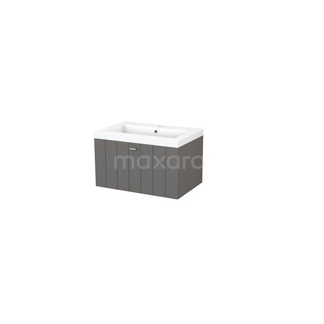 Badkamermeubel 70cm Modulo+ Basalt 1 Lade Lamel Wastafel Mineraalmarmer BMP001272