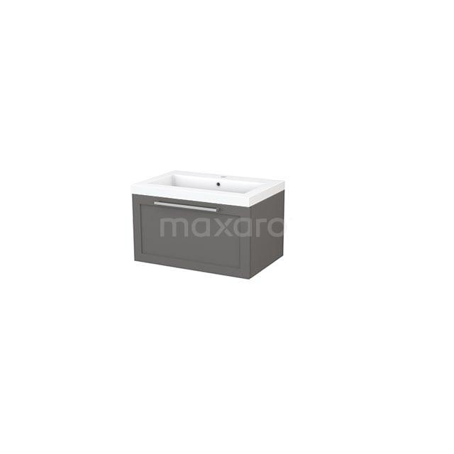 Badkamermeubel 70cm Modulo+ Basalt 1 Lade Kader Wastafel Mineraalmarmer BMP001280