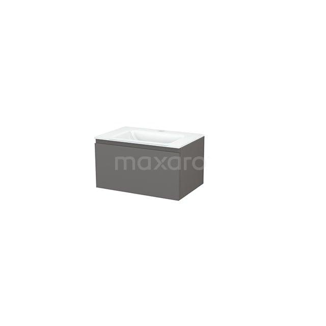 Badkamermeubel 70cm Modulo+ Basalt 1 Lade Greeploos Wastafel Glas BMP001286
