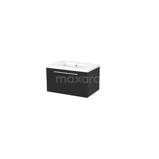 Badkamermeubel 70cm Modulo+ Carbon 1 Lade Vlak Wastafel Keramiek BMP001301