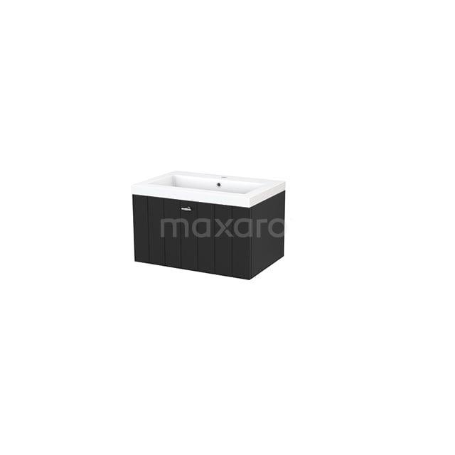 Badkamermeubel 70cm Modulo+ Carbon 1 Lade Lamel Wastafel Mineraalmarmer BMP001304