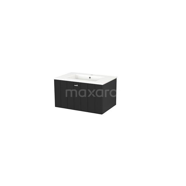 Badkamermeubel 70cm Modulo+ Carbon 1 Lade Lamel Wastafel Keramiek BMP001307
