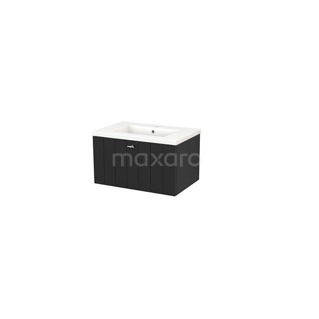 Badkamermeubel 70cm Modulo+ Carbon 1 Lade Lamel Wastafel Keramiek BMP001309