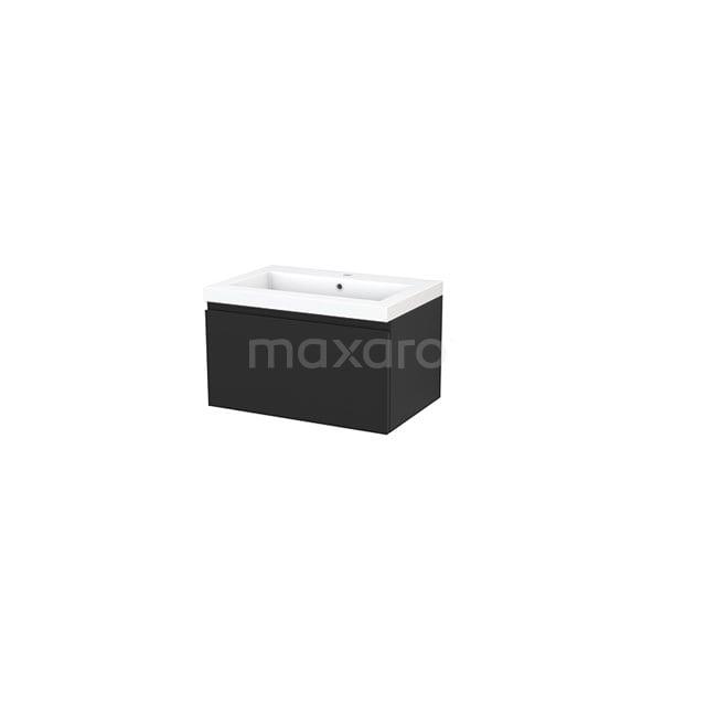 Badkamermeubel 70cm Modulo+ Carbon 1 Lade Greeploos Wastafel Mineraalmarmer BMP001320