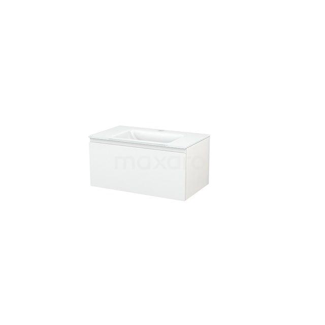 Badkamermeubel 80cm Modulo+ Hoogglans Wit 1 Lade Greeploos Wastafel Glas BMP001404