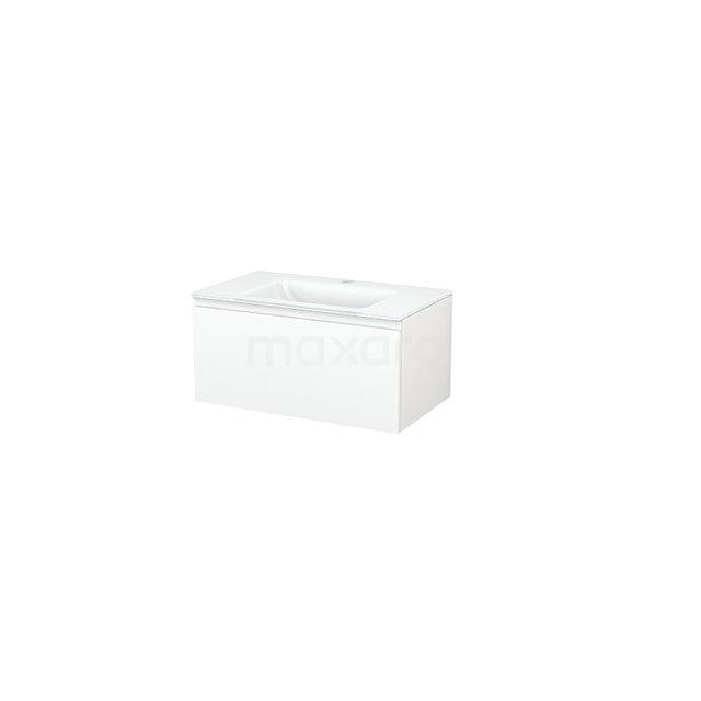 Badkamermeubel 80cm Modulo+ Mat Wit 1 Lade Greeploos Wastafel Glas BMP001444