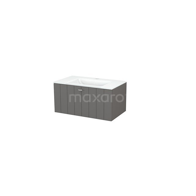 Badkamermeubel 80cm Modulo+ Basalt 1 Lade Lamel Wastafel Glas BMP001464