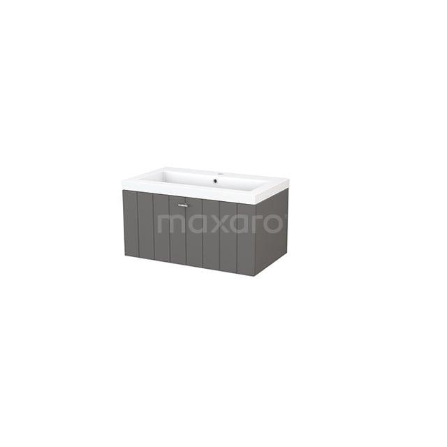 Badkamermeubel 80cm Modulo+ Basalt 1 Lade Lamel Wastafel Mineraalmarmer BMP001467