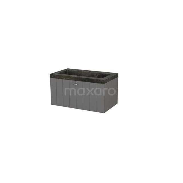 Badkamermeubel 80cm Modulo+ Basalt 1 Lade Lamel Wastafel Natuursteen Blue Stone BMP001468