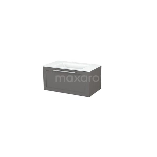 Badkamermeubel 80cm Modulo+ Basalt 1 Lade Kader Wastafel Glas BMP001474