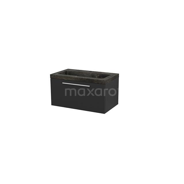 Badkamermeubel 80cm Modulo+ Carbon 1 Lade Vlak Wastafel Natuursteen Blue Stone BMP001498