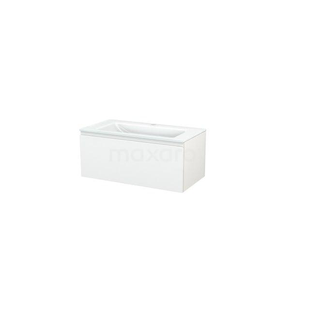 Badkamermeubel 90cm Modulo+ Hoogglans Wit 1 Lade Greeploos Wastafel Glas BMP001625