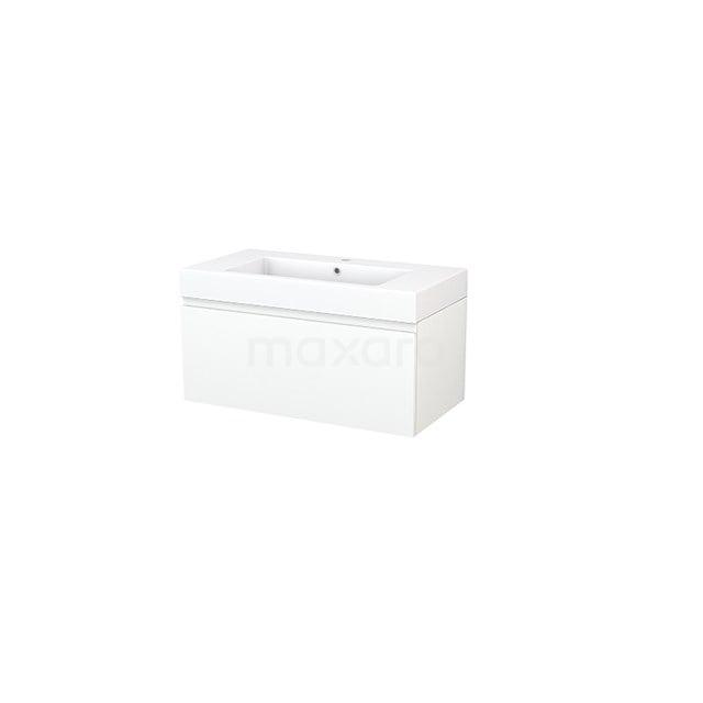 Badkamermeubel 90cm Modulo+ Mat Wit 1 Lade Greeploos Wastafel Mineraalmarmer BMP001653