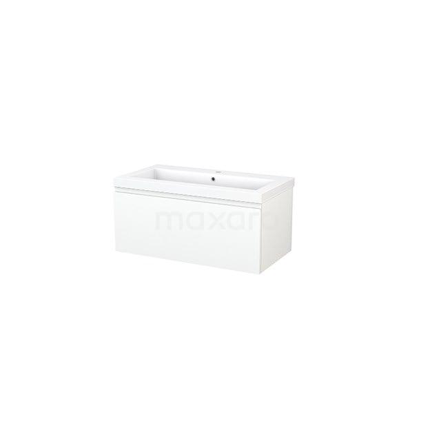 Badkamermeubel 90cm Modulo+ Mat Wit 1 Lade Greeploos Wastafel Mineraalmarmer BMP001655