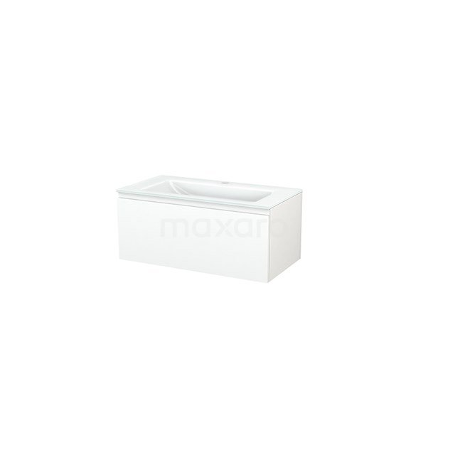 Badkamermeubel 90cm Modulo+ Mat Wit 1 Lade Greeploos Wastafel Glas BMP001657