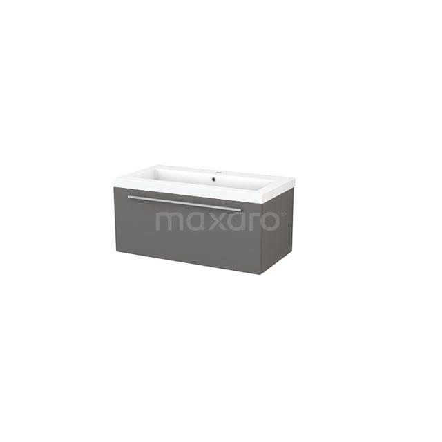 Badkamermeubel 90cm Modulo+ Basalt 1 Lade Vlak Wastafel Mineraalmarmer BMP001663