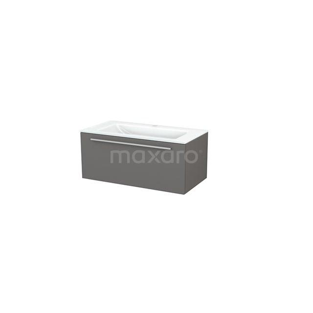 Badkamermeubel 90cm Modulo+ Basalt 1 Lade Vlak Wastafel Glas BMP001665