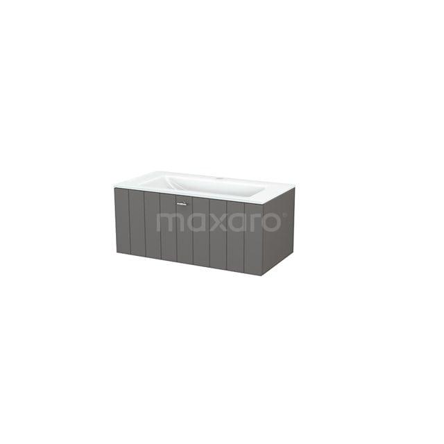 Badkamermeubel 90cm Modulo+ Basalt 1 Lade Lamel Wastafel Glas BMP001673