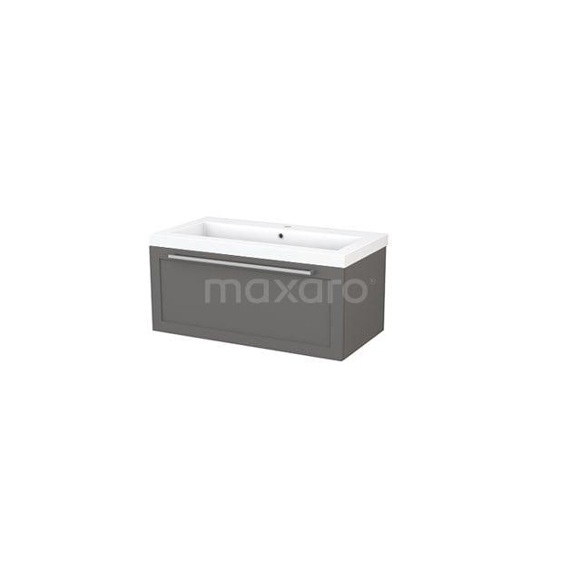 Badkamermeubel 90cm Modulo+ Basalt 1 Lade Kader Wastafel Mineraalmarmer BMP001679