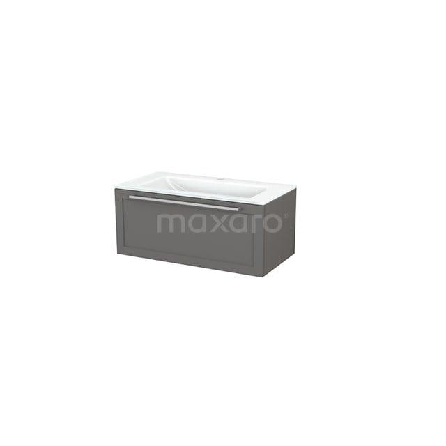 Badkamermeubel 90cm Modulo+ Basalt 1 Lade Kader Wastafel Glas BMP001681