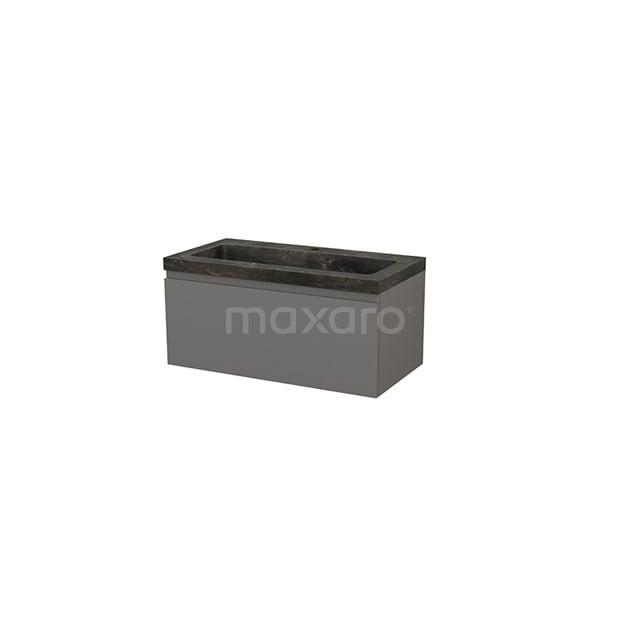 Badkamermeubel 90cm Modulo+ Basalt 1 Lade Greeploos Wastafel Natuursteen Blue Stone BMP001686