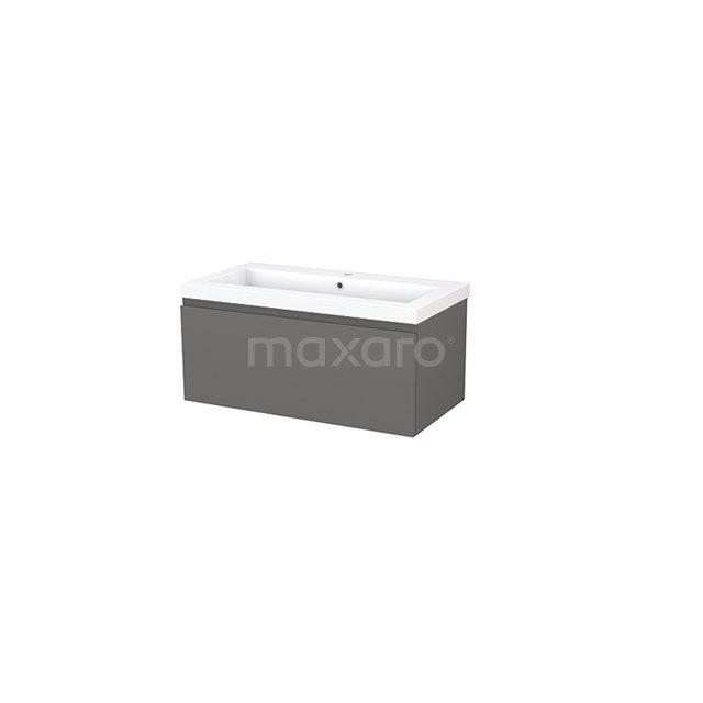 Badkamermeubel 90cm Modulo+ Basalt 1 Lade Greeploos Wastafel Mineraalmarmer BMP001687