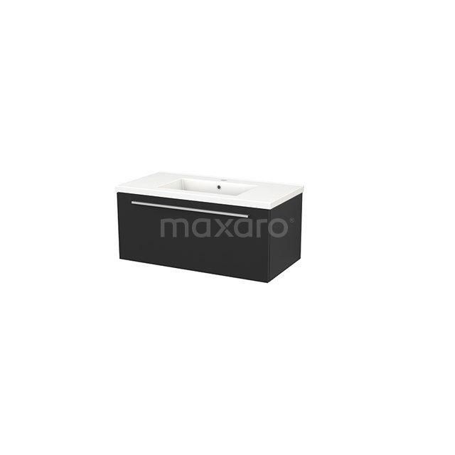 Badkamermeubel 90cm Modulo+ Carbon 1 Lade Vlak Wastafel Keramiek BMP001690