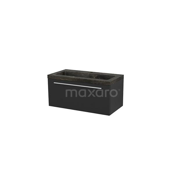 Badkamermeubel 90cm Modulo+ Carbon 1 Lade Vlak Wastafel Natuursteen Blue Stone BMP001694
