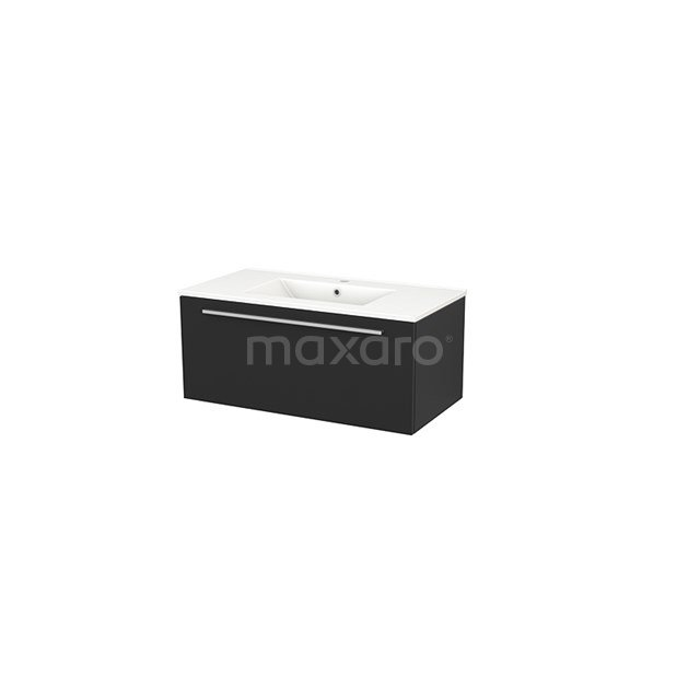 Badkamermeubel 90cm Modulo+ Carbon 1 Lade Vlak Wastafel Keramiek BMP001696