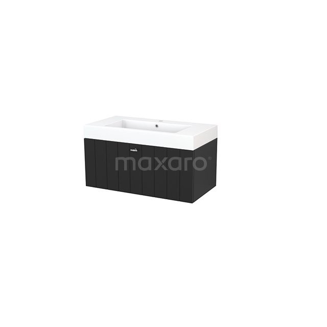 Badkamermeubel 90cm Modulo+ Carbon 1 Lade Lamel Wastafel Mineraalmarmer BMP001701