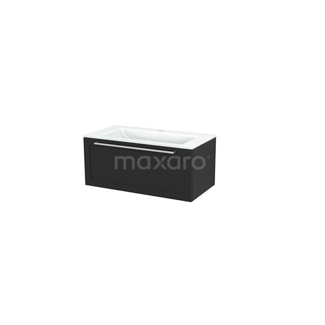 Badkamermeubel 90cm Modulo+ Carbon 1 Lade Kader Wastafel Glas BMP001713