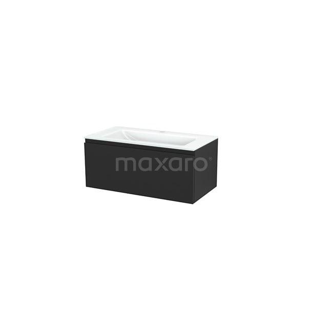 Badkamermeubel 90cm Modulo+ Carbon 1 Lade Greeploos Wastafel Glas BMP001721