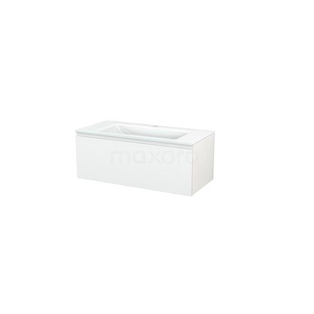 Badkamermeubel 100cm Modulo+ Hoogglans Wit 1 Lade Greeploos Wastafel Glas BMP001803