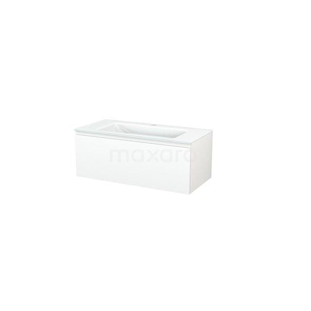 Badkamermeubel 100cm Modulo+ Mat Wit 1 Lade Greeploos Wastafel Glas BMP001847