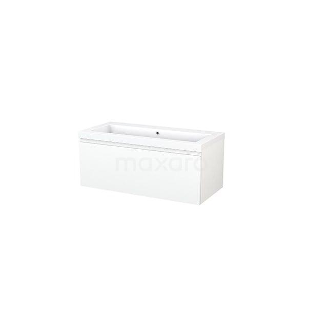 Badkamermeubel 100cm Modulo+ Mat Wit 1 Lade Greeploos Wastafel Mineraalmarmer BMP001849