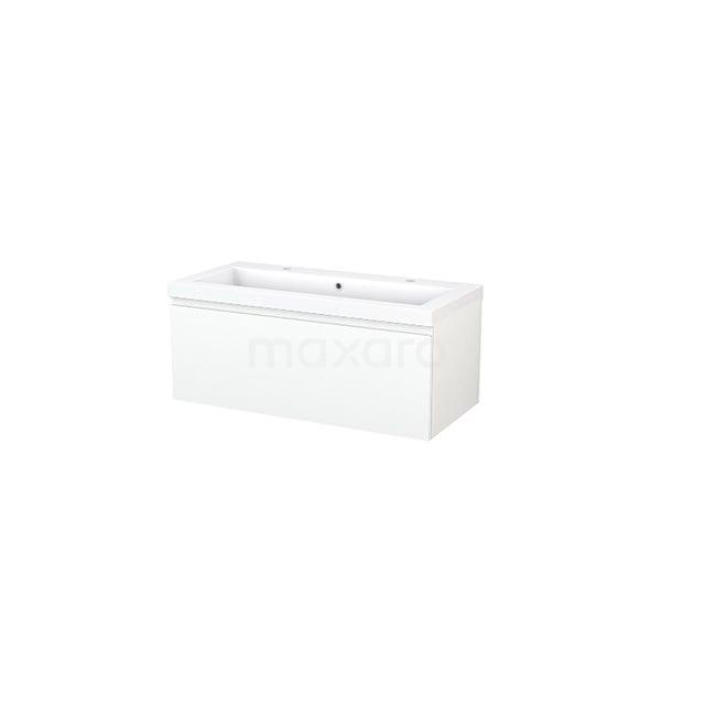 Badkamermeubel 100cm Modulo+ Mat Wit 1 Lade Greeploos Wastafel Mineraalmarmer BMP001850