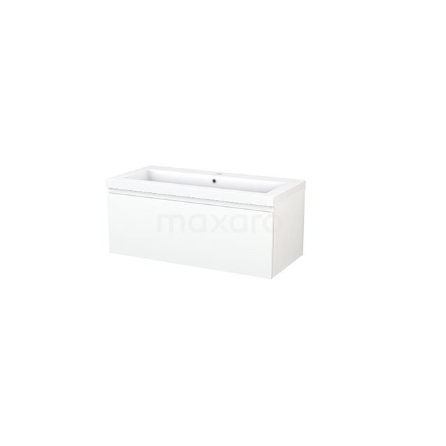 Badkamermeubel 100cm Modulo+ Mat Wit 1 Lade Greeploos Wastafel Mineraalmarmer BMP001851
