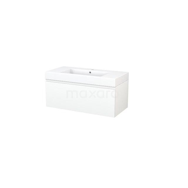Badkamermeubel 100cm Modulo+ Mat Wit 1 Lade Greeploos Wastafel Mineraalmarmer BMP001854